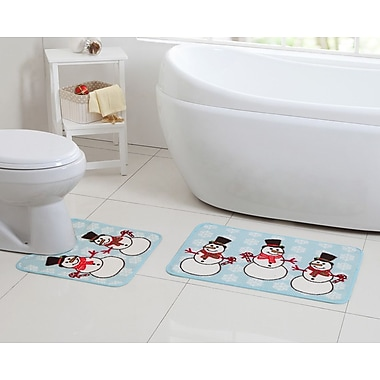 VCNY Snowman Snowflake Blue/White Bath Rug Set (Set of 2)