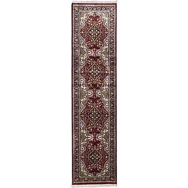 ECARPETGALLERY Kashmir Hand-Knotted Dark Red Area Rug; Runner 2'6'' x 9'11''