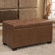 Bellasario Collection Upholstered Storage Bench; Espresso Brown