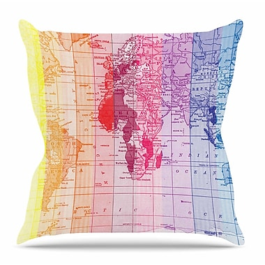 KESS InHouse Rainbow World Map by Catherine Holcombe Throw Pillow; 18'' H x 18'' W x 3'' D