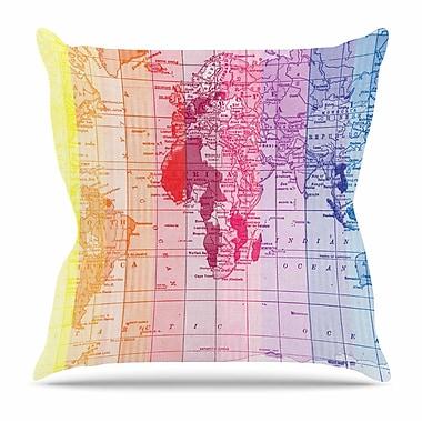 KESS InHouse Rainbow World Map by Catherine Holcombe Throw Pillow; 26'' H x 26'' W x 5'' D
