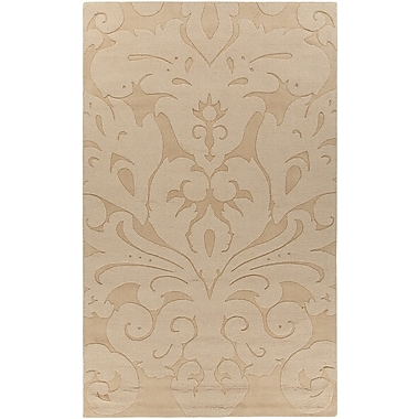 Chandra Mystica Hand-Woven Light Gold Area Rug; 5' x 8'