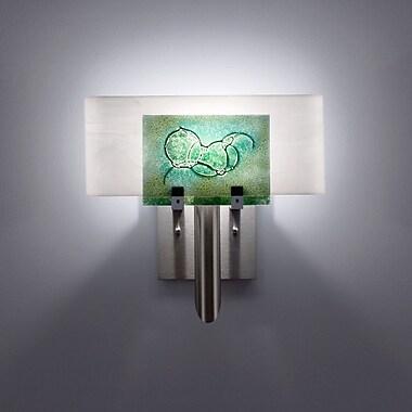 WPT Design Dessy 1-Light Wall Sconce; Mosaic Green / Flat Back White