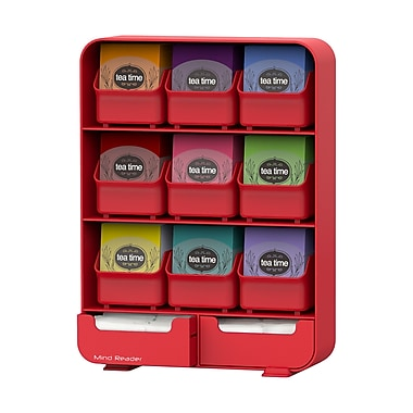 Mind Reader Baggy 9-Drawer Tea Bag And Accessory Holder, Red (Tborg-Red)