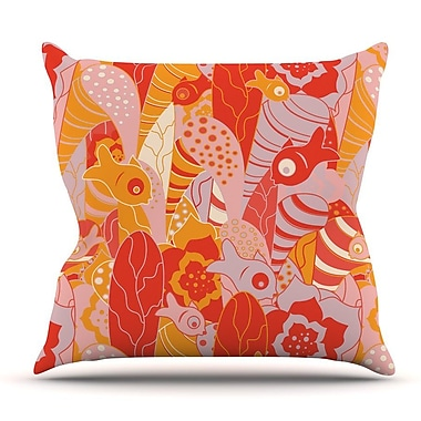 KESS InHouse Fishes Here, Fishes There by Akwaflorell Throw Pillow; 26'' H x 26'' W x 5'' D