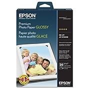 """Epson Premium High Gloss Photo Paper, 5"""" x 7"""", White, 20/Pack (S041464)"""