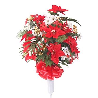 Teters Memorial Signature Round Poinsettia Floral Vase Arrangement