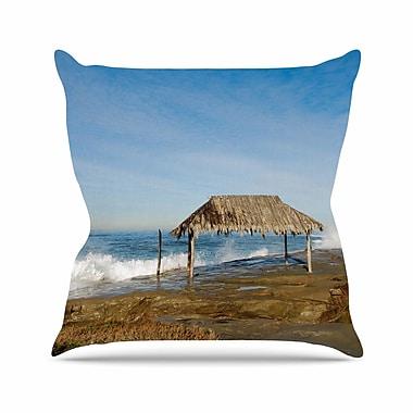 KESS InHouse Crashing Waves Near Hut Throw Pillow; 18'' H x 18'' W