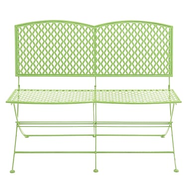 Woodland Imports Metal Garden Bench; Green