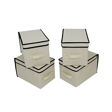 Cathay Importers Fabric Lidded Storage Boxes, 8 x 12 x 8
