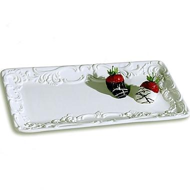 Intrada Baroque Large Rectangular Platter; White