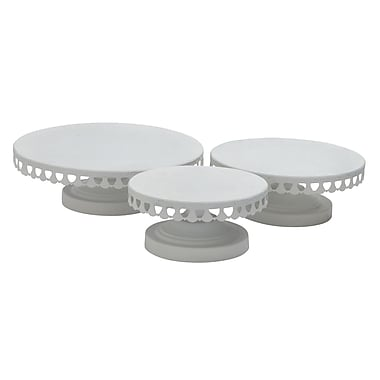 Woodland Imports 3 Piece Cake Stand Set; White