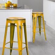 AdecoTrading 30'' Bar Stool (Set of 2); Yellow