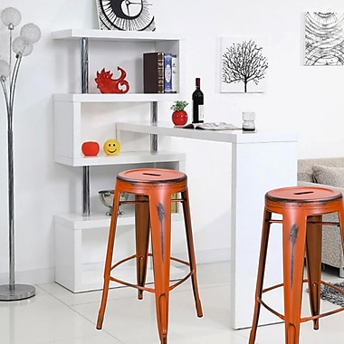 AdecoTrading 30'' Bar Stool (Set of 2); Orange
