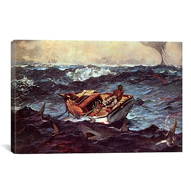 iCanvas 'Gulf Stream' by Winslow Homer Painting Print on Canvas; 18'' H x 26'' W x 0.75'' D