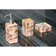 MaestroBath Atelier 3-Piece Bathroom Accessory Set; Red / Silver / Ivory
