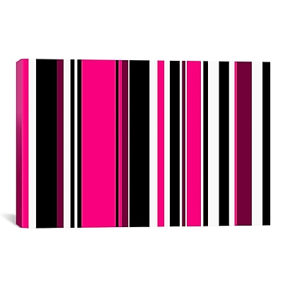 iCanvas Striped Deep Pink on Black Graphic Art on Canvas; 8'' H x 12'' W x 0.75'' D