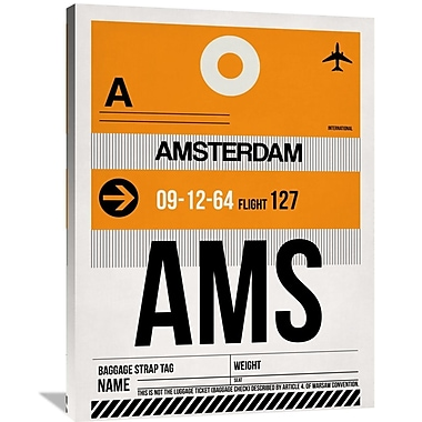 Naxart 'AMS Amsterdam Luggage Tag 2' Graphic Art on Wrapped Canvas; 40'' H x 30'' W x 1.5'' D