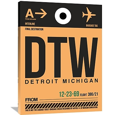 Naxart 'DTW Detroit Luggage Tag 1' Graphic Art on Wrapped Canvas; 40'' H x 30'' W x 1.5'' D