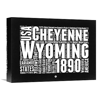 Naxart 'Wyoming Map' Textual Art on Wrapped Canvas; 12'' H x 16'' W x 1.5'' D