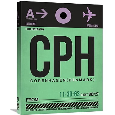 Naxart 'CPH Copenhagen Luggage Tag 1' Graphic Art on Wrapped Canvas; 24'' H x 18'' W x 1.5'' D