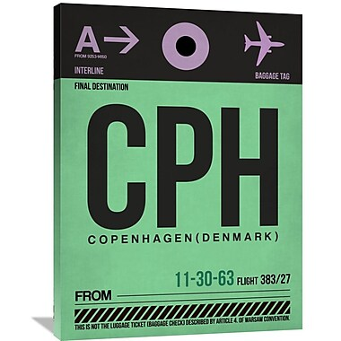 Naxart 'CPH Copenhagen Luggage Tag 1' Graphic Art on Wrapped Canvas; 40'' H x 30'' W x 1.5'' D