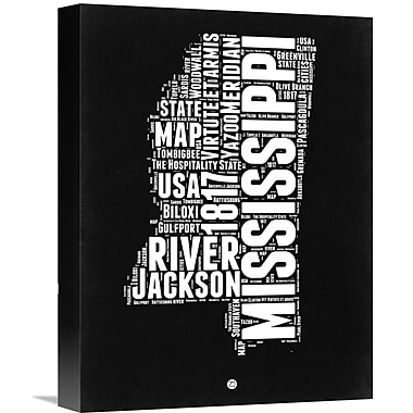 Naxart 'Mississippi Black and White Map' Textual Art on Wrapped Canvas; 16'' H x 12'' W x 1.5'' D
