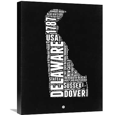 Naxart 'Delaware Black and White Map' Textual Art on Wrapped Canvas; 24'' H x 18'' W x 1.5'' D