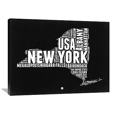 Naxart 'New York Black and White Map' Textual Art on Wrapped Canvas; 30'' H x 40'' W x 1.5'' D