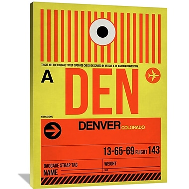 Naxart 'DEN Denver Luggage Tag 1' Graphic Art on Wrapped Canvas; 48'' H x 36'' W x 1.5'' D