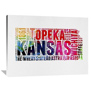 Naxart 'Kansas Watercolor Word Cloud' Textual Art on Wrapped Canvas; 36'' H x 48'' W x 1.5'' D