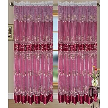 Kashi Home Lillian Curtain Single Panel; Gold/Burgundy