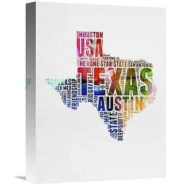 Naxart 'Texas Watercolor Word Cloud' Textual Art on Wrapped Canvas; 16'' H x 12'' W x 1.5'' D