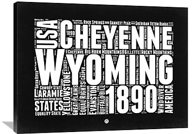 Naxart 'Wyoming Map' Textual Art on Wrapped Canvas; 30'' H x 40'' W x 1.5'' D