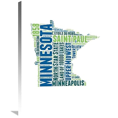 Naxart 'Minnesota Word Cloud Map' Textual Art on Wrapped Canvas; 32'' H x 24'' W x 1.5'' D
