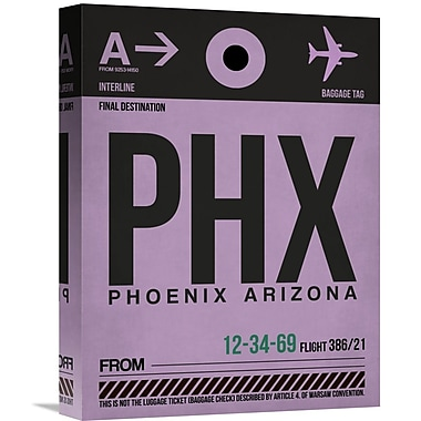 Naxart 'PHX Phoenix Luggage Tag 1' Graphic Art on Wrapped Canvas; 16'' H x 12'' W x 1.5'' D