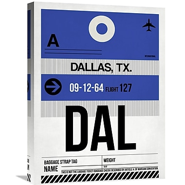 Naxart 'DAL Dallas Luggage Tag 1' Graphic Art on Wrapped Canvas; 24'' H x 18'' W x 1.5'' D