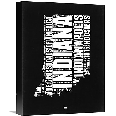 Naxart 'Indiana Map' Textual Art on Wrapped Canvas; 16'' H x 12'' W x 1.5'' D