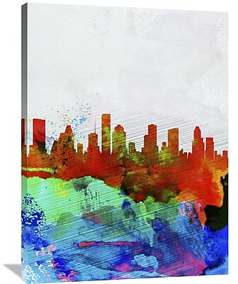 Naxart 'Houston Watercolor Skyline' Painting Print on Wrapped Canvas; 40'' H x 30'' W x 1.5'' D