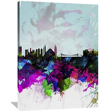 Naxart 'Istanbul Watercolor Skyline' Painting Print on Wrapped Canvas; 48'' H x 36'' W x 1.5'' D