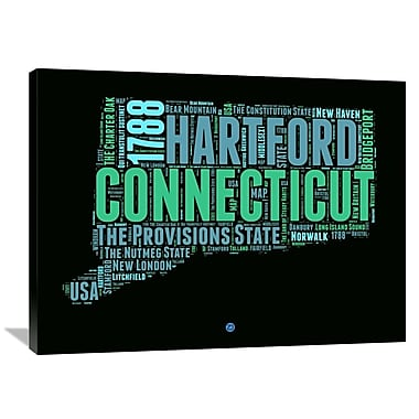 Naxart 'Connecticut Word Cloud 1' Textual Art on Wrapped Canvas; 30'' H x 40'' W x 1.5'' D