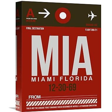 Naxart 'MIA Miami Luggage Tag 2' Graphic Art on Wrapped Canvas; 16'' H x 12'' W x 1.5'' D