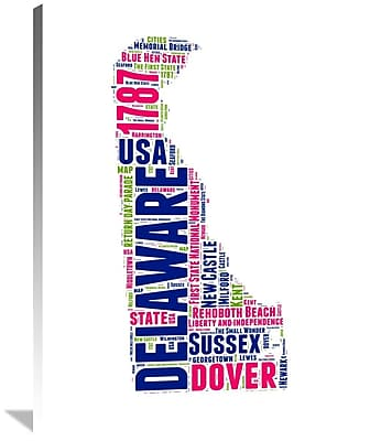 Naxart 'Delaware Word Cloud Map' Textual Art on Wrapped Canvas; 40'' H x 30'' W x 1.5'' D