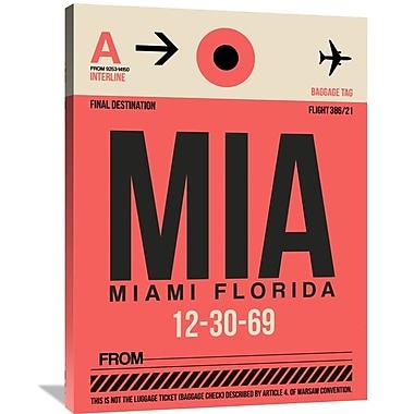 Naxart 'MIA Miami Luggage Tag 1' Graphic Art on Wrapped Canvas; 40'' H x 30'' W x 1.5'' D
