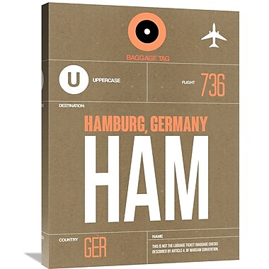 Naxart 'HAM Hamburg Luggage Tag 2' Graphic Art on Wrapped Canvas; 32'' H x 24'' W x 1.5'' D