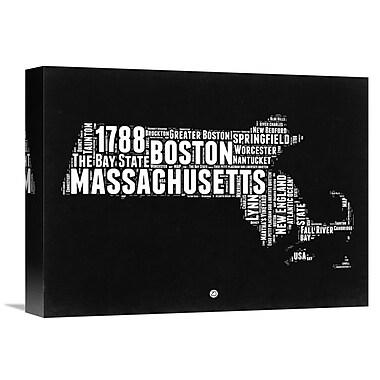 Naxart 'Massachusetts Map' Textual Art on Wrapped Canvas; 12'' H x 16'' W x 1.5'' D