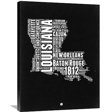 Naxart 'Louisiana Map' Textual Art on Wrapped Canvas; 32'' H x 24'' W x 1.5'' D