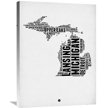 Naxart 'Michigan Word Cloud 2' Textual Art on Wrapped Canvas; 32'' H x 24'' W x 1.5'' D