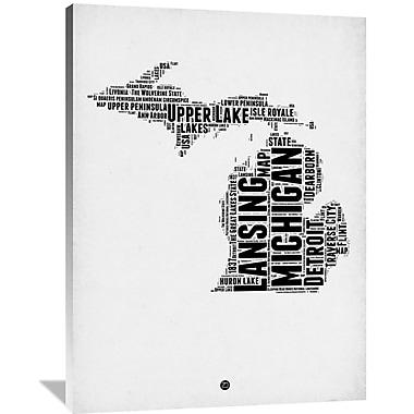Naxart 'Michigan Word Cloud 2' Textual Art on Wrapped Canvas; 48'' H x 36'' W x 1.5'' D