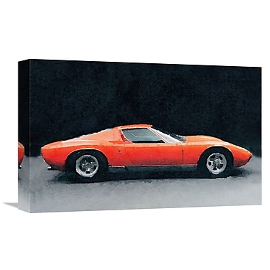 Naxart '1971 Lamborghini Miura P400 S' Graphic Art on Wrapped Canvas; 12'' H x 18'' W x 1.5'' D
